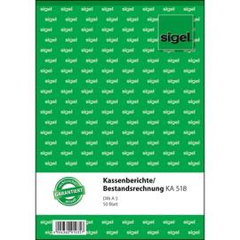 Kassenbericht/ Bestandsrechnung A5 hoch 50Blatt Sigel KA518 Produktbild