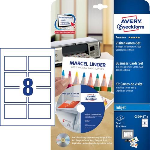 Visitenkarten Set Inkjet 85x54mm Auf A4 Bögen 260g Weiß Visitenkarten Software Zweckform C32041 8 Pack 80 Stück