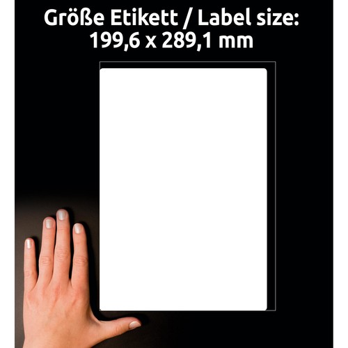 Versand-Etiketten Laser blickdicht 199,6x289,1mm auf A4 Bögen weiß Papier Zweckform L7167-100 (PACK=100 STÜCK) Produktbild Additional View 6 L