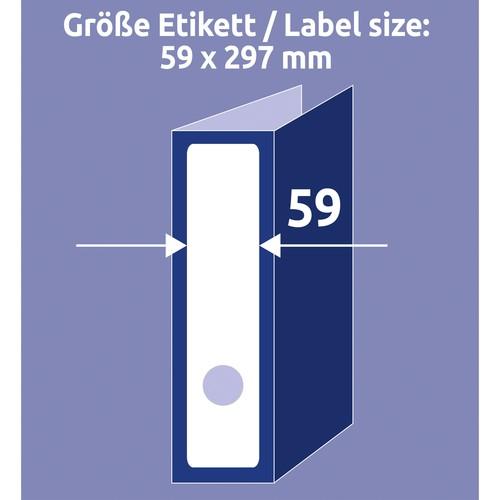 Rückenschilder zum Bedrucken 59x297mm lang breit auf A4 Bögen weiß selbstklebend Zweckform L6059-25 (PACK=90 STÜCK) Produktbild Additional View 9 L