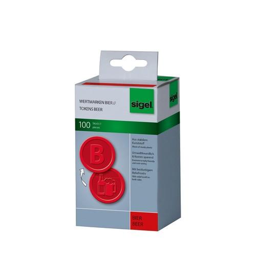 """Wertmarken """"Bier"""" Druck mit Motiv+B ø 25mm rot Kunststoff Sigel WM003 (PACK=100 STÜCK) Produktbild"""