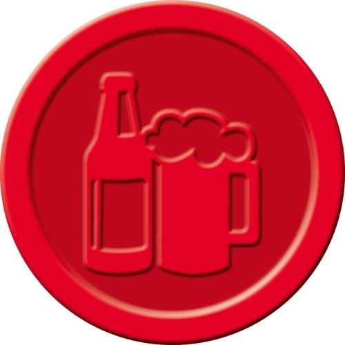"""Wertmarken """"Bier"""" Druck mit Motiv+B ø 25mm rot Kunststoff Sigel WM003 (PACK=100 STÜCK) Produktbild Additional View 2 L"""