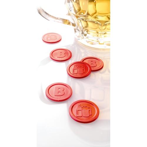 """Wertmarken """"Bier"""" Druck mit Motiv+B ø 25mm rot Kunststoff Sigel WM003 (PACK=100 STÜCK) Produktbild Additional View 3 L"""