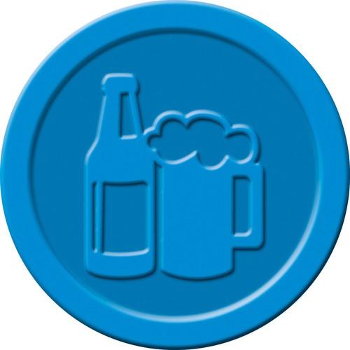 """Wertmarken """"Bier"""" Druck mit Motiv+B ø 25mm blau Kunststoff Sigel WM005 (PACK=100 STÜCK) Produktbild Additional View 2 L"""