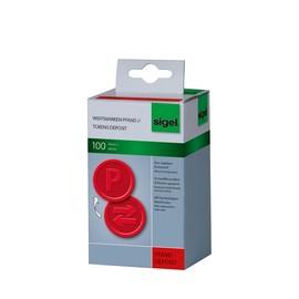 """Wertmarken """"Pfand"""" Druck mit Motiv+P ø 25mm rot Kunststoff Sigel WM008 (PACK=100 STÜCK) Produktbild"""