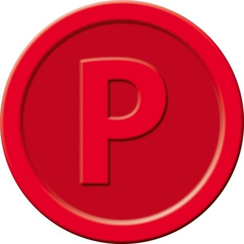 """Wertmarken """"Pfand"""" Druck mit Motiv+P ø 25mm rot Kunststoff Sigel WM008 (PACK=100 STÜCK) Produktbild Additional View 1 L"""