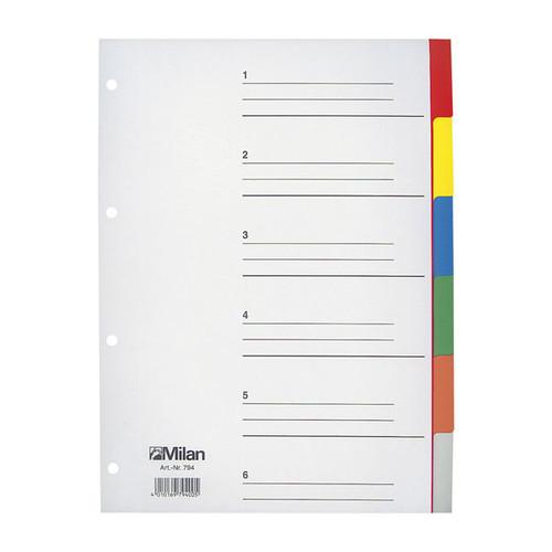 Register Blanko A4 230x297mm 6-teilig mehrfarbig Karton Milan 794 Produktbild