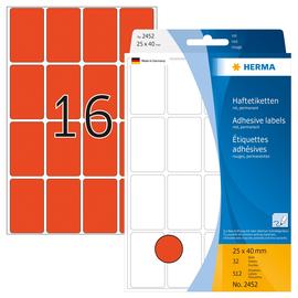 Vielzweck-Etiketten für Handbeschriftung 25x40mm rot Herma 2452 (PACK=512 STÜCK) Produktbild