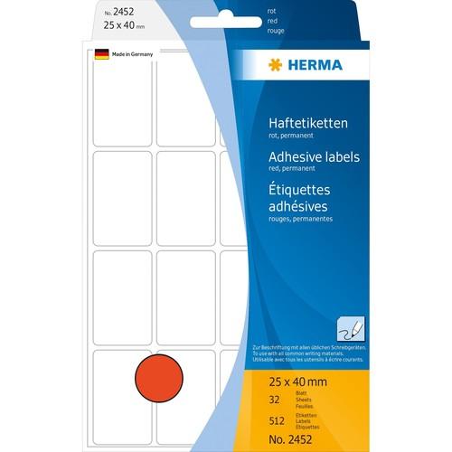 Vielzweck-Etiketten für Handbeschriftung 25x40mm rot Herma 2452 (PACK=512 STÜCK) Produktbild Additional View 1 L