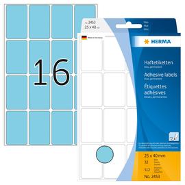 Vielzweck-Etiketten für Handbeschriftung 25x40mm blau Herma 2453 (PACK=512 STÜCK) Produktbild