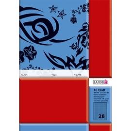 Heft starker Deckel A4 Lineatur 28 kariert Rand links+rechts 16Blatt 80g holzfrei weiß Landré 100050042 Produktbild