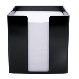 Zettelbox mit weißem Papier 95x95x95mm 700Blatt schwarz Kunststoff Metzger&Mendle 69020301 Produktbild