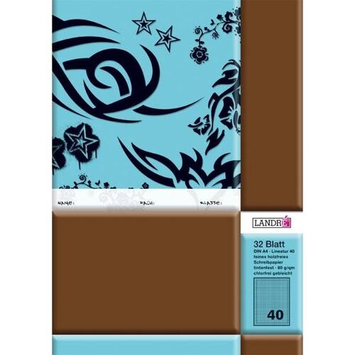 Heft starker Deckel A4 Lineatur 40 kariert mit Rahmen 32Blatt 80g holzfrei weiß Landré 100050060 Produktbild Additional View 1 L