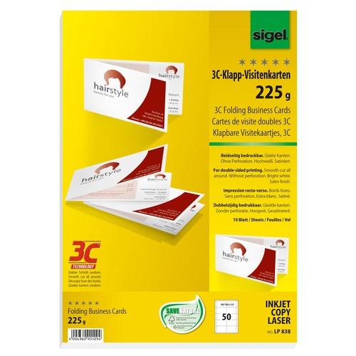 Klapp Visitenkarten Inket Laser Kopier 85x55mm 225g Weiß Beidseitig Bedruckbar Sigel Lp838 Pack 50 Stück