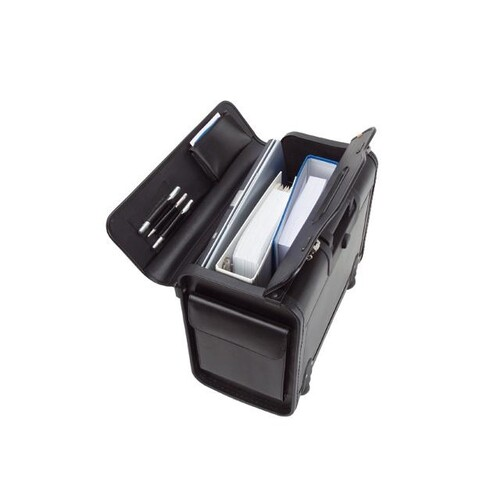 Pilotenkoffer mit Trolleysytem SILVANA 48,5x37X24cm schwarz Lederimitat Alassio 92301 Produktbild Front View L
