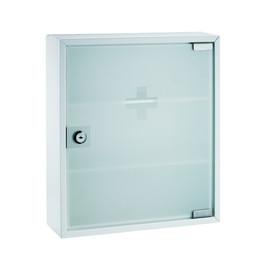 Erste-Hilfe-Verbandsschrank weiß lackiert mit Glastür ungefüllt Alco 863 Produktbild