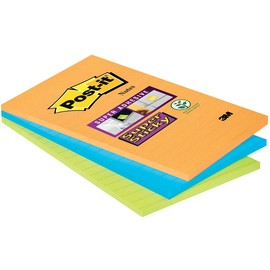 Haftnotizen Post-it Super Sticky Notes 102x152mm ultra + neonfarben Papier 3M 46453SSA (PACK=3x 45 BLATT) Produktbild