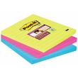 Haftnotizen Post-it Super Sticky Notes 101x101mm neonfarben Papier 3M 6753SSMX (PACK=3x 70 BLATT) Produktbild