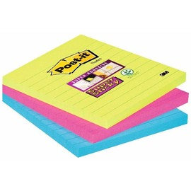Haftnotizen Post-it Super Sticky Notes 101x101mm neonfarben Papier 3M 6753SSMX (PACK=3x 70 BLATT) Produktbild