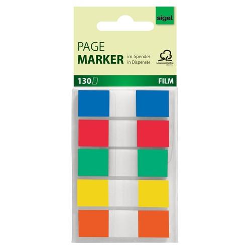 Haftmarker Z-Marker Film Color-Tip 12x43mm 5 Grundfarben transparent Sigel HN475 (PACK=130 BLATT) Produktbild