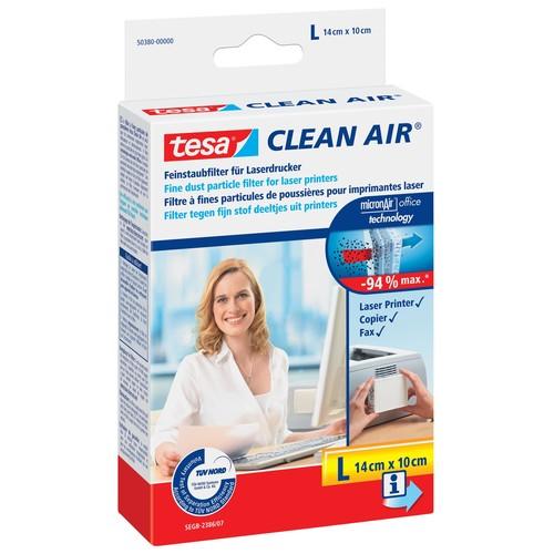 Feinstaubfilter Clean Air 14x10cm L farblos für Laserdrucker Tesa 50380 Produktbild Front View L