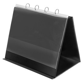 Tisch-Flip-Chart Aufstellringbuch mit 10 Hüllen A3 quer 4Ringe Ringe-Ø30 schwarz PVC mit Ledernarbung Veloflex 4132280 Produktbild