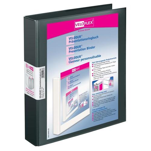 Präsentationsringbuch Velodur mit Sichttaschen A4 Überbreite 2Ringe Ringe-Ø30mm schwarz PP Veloflex 4147180 Produktbild