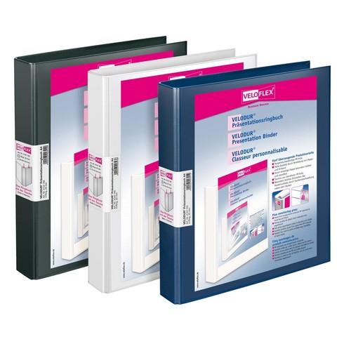 Präsentationsringbuch Velodur mit Sichttaschen A4 Überbreite 4Ringe Ringe-Ø30mm schwarz PP Veloflex 4148180 Produktbild Additional View 1 L