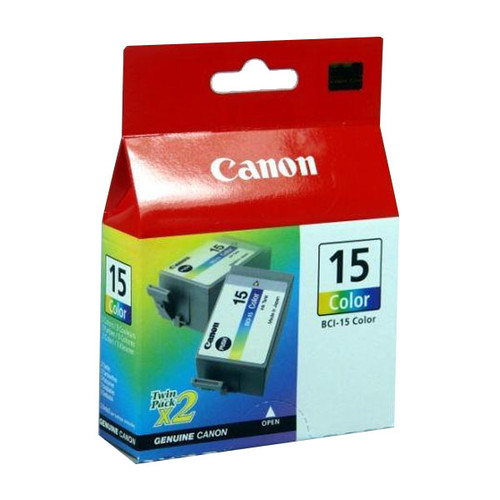 Tintenpatronen BCI-15C für Pixus 50/80 je 7,5ml farbig Canon 8191A002 (PACK=2 STÜCK) Produktbild Front View L