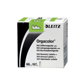 Buchstabensignale F Orgacolor auf Rolle 30x23mm grün selbstklebend Leitz 6615-10-00 (SCH=250 STÜCK) Produktbild