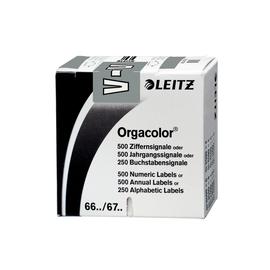Buchstabensignale V Orgacolor auf Rolle 30x23mm grau selbstklebend Leitz 6631-10-00 (SCH=250 STÜCK) Produktbild