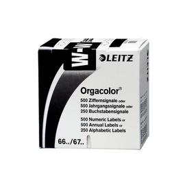 Buchstabensignale W Orgacolor auf Rolle 30x23mm schwarz selbstklebend Leitz 6632-10-00 (SCH=250 STÜCK) Produktbild