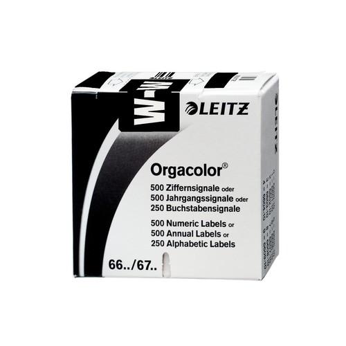 Buchstabensignale W Orgacolor auf Rolle 30x23mm schwarz selbstklebend Leitz 6632-10-00 (SCH=250 STÜCK) Produktbild Front View L