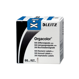 Buchstabensignale X Orgacolor auf Rolle 30x23mm dunkelblau selbstklebend Leitz 6633-10-00 (SCH=250 STÜCK) Produktbild
