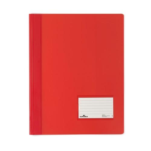 Schnellhefter Duralux transluzent mit Beschriftungsfenster und Innentasche A4 überbreit rot Durable 2680-03 Produktbild Front View L