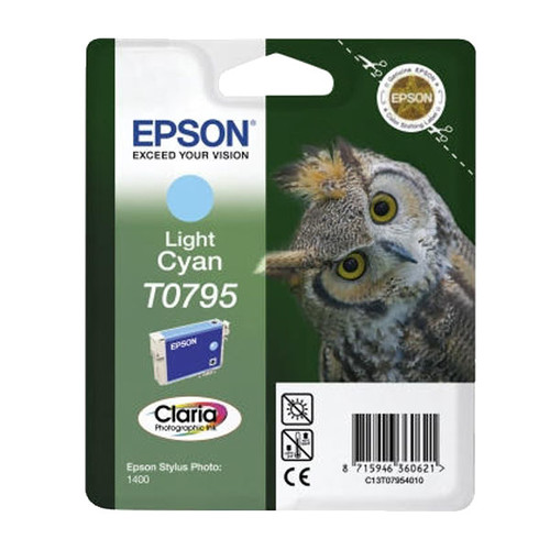 Tintenpatrone T0795 für Epson Stylus Photo 1400/P50/PX650 11ml cyan hell Epson T079540 Produktbild Front View L