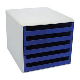Schubladenbox 5 Schübe offen 357x285x260mm Gehäuse grau Schübe blau kunststoff M&M 30050911 Produktbild