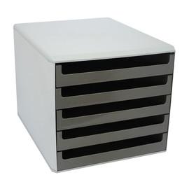 Schubladenbox 5 Schübe offen 284x359x260mm Gehäuse grau Schübe grau kunststoff M&M 30050910 Produktbild