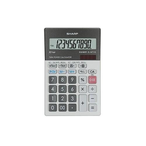 Tischrechner 10-stelliges LCD-Display 100x151,5x33mm Solar-/Batteriebetrieb Sharp EL-M711GGY Produktbild Front View L