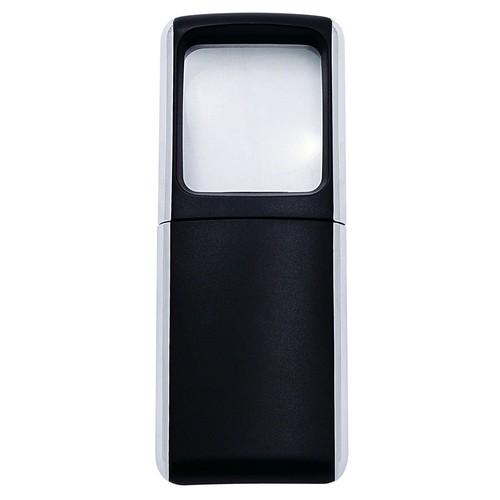 Rechteck-Lupe mit LED-Beleuchtung 3-fach 118x47x14mm schwarz WEDO 2717501 Produktbild Front View L