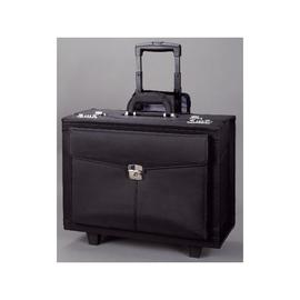 Pilotenkoffer mit Trolleysystem ROCCA 46x39x27cm schwarz Mikrofaser Alassio 45034 Produktbild