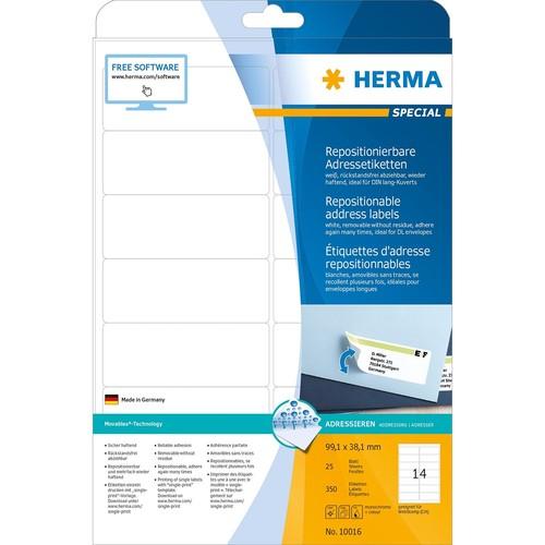 Etiketten Inkjet+Laser+Kopier 99,1x38,1mm auf A4 Bögen Movables weiß wiederablösbar Herma 10016 (PACK=350 STÜCK) Produktbild Additional View 1 L