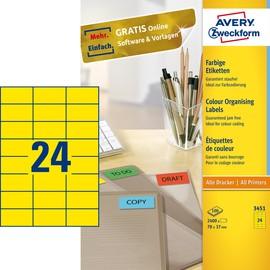 Etiketten Inkjet+Laser+Kopier 70x37mm auf A4 Bögen gelb Zweckform 3451 (PACK=2400 STÜCK) Produktbild