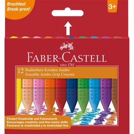 Wachsmalkreide Grip JUMBO Kartonetui sortiert radierbar Faber Castell 122540 (PACK=12 STÜCK) Produktbild