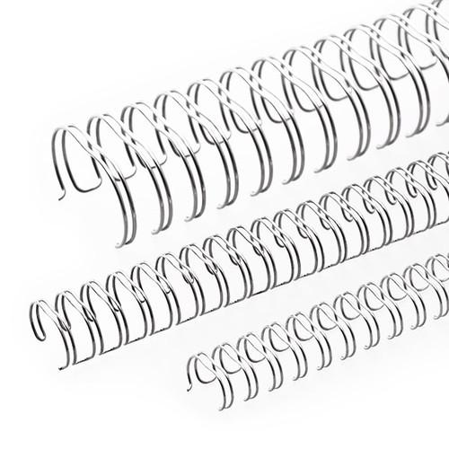 Draht-Binderücken 2:1-Teilung 22mm ø bis 190Blatt NN-silber glänzend Renz 322200623 (PACK=50 STÜCK) Produktbild Front View L