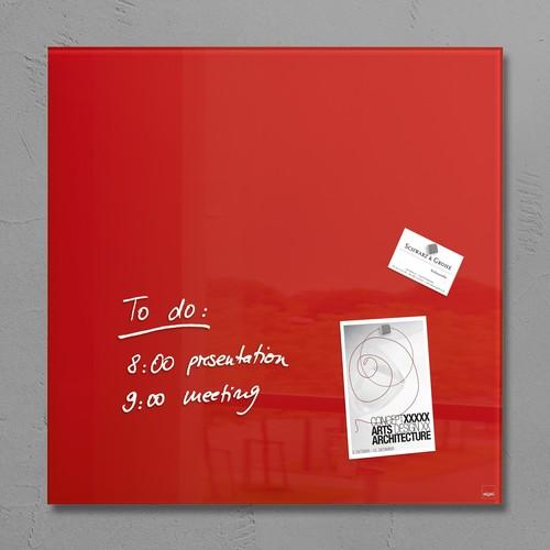 Glas-Magnetboard artverum 480x480x15mm rot inkl. Magnete Sigel GL114 Produktbild
