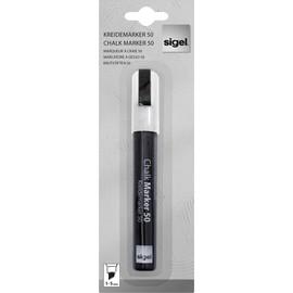Kreidemarker 50 artverum 1-5mm Keilspitze weiß abwischbar Sigel GL181 Produktbild