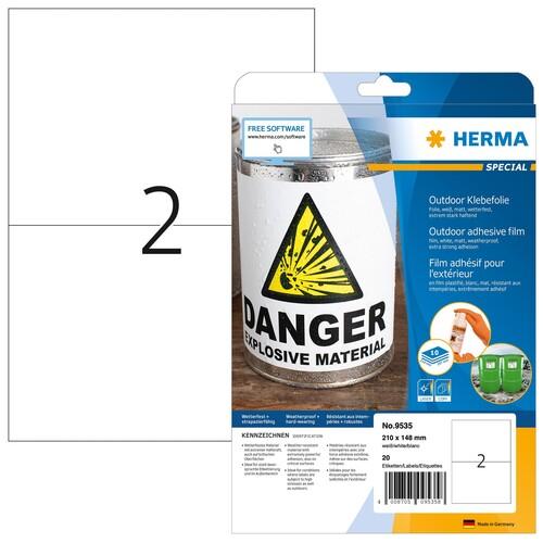 Folien-Etiketten Laser+Kopier 210x148mm auf A4 Bögen wetterfest+alterungs- beständig matt weiß Herma 9535 (PACK=20 STÜCK) Produktbild