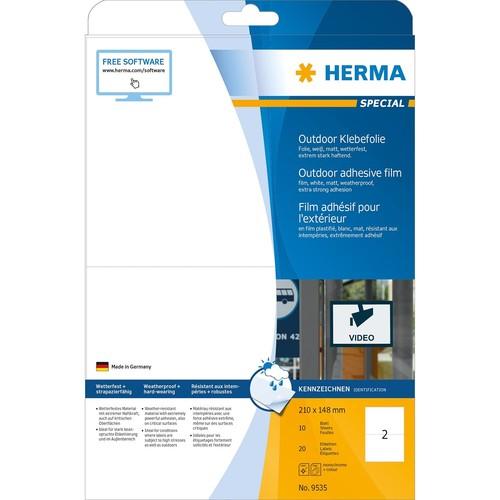 Folien-Etiketten Laser+Kopier 210x148mm auf A4 Bögen wetterfest+alterungs- beständig matt weiß Herma 9535 (PACK=20 STÜCK) Produktbild Additional View 1 L
