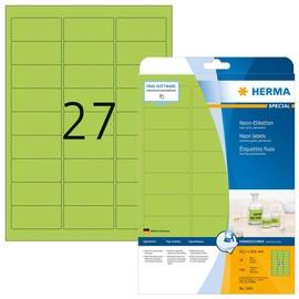 Etiketten Inkjet+Laser+Kopier 63,5x29,6mm auf A4 Bögen neongrün permanent Herma 5143 (PACK=540 STÜCK) Produktbild